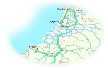 Map for Holland to Belgium Cruise (La Nouvelle Etoile)