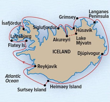 Map for A Circumnavigation of Iceland (NG Explorer)