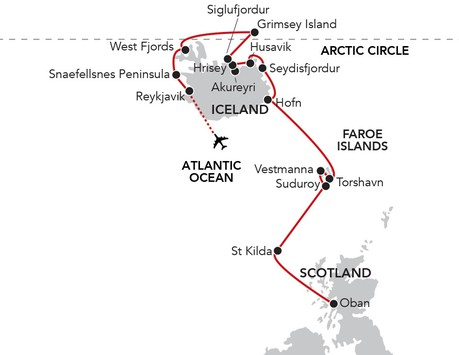Map for Iceland to the Hebrides