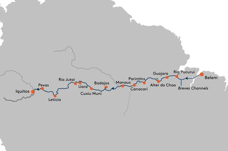 Map for From Belem to Iquitos Cruise