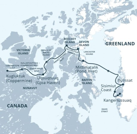 Map for Into the Northwest Passage (East to West)
