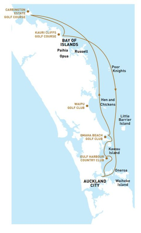 Map for Heli - Golf New Zealand Cruise
