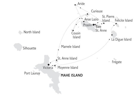 Map for 8 Day Cruise in the Seychelles