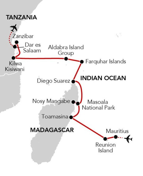 Map for Islands of the Indian Ocean aboard Island Sky