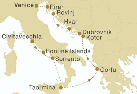 Map for Italy, Montenegro & Croatia Cruise - 11 or 12 Days (Royal Clipper)