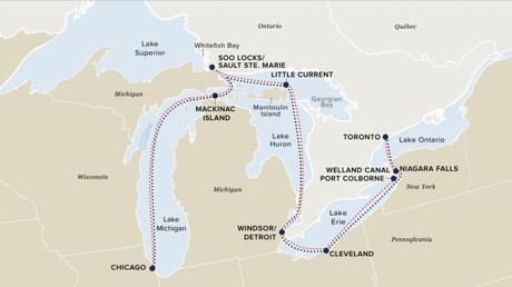 Map for Great Lakes Grand Discovery (Victory I & II)