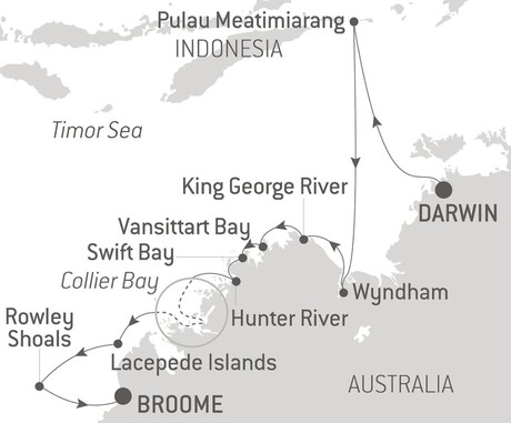 Map for The Kimberley & Rowley Shoals with Ponant in Luxury
