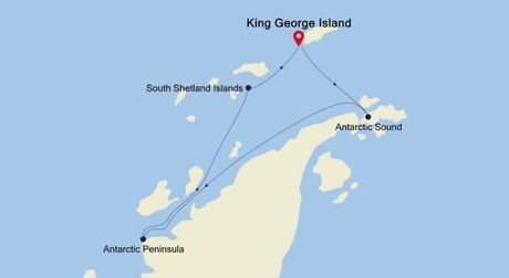 Map for King George Island to King George Island Fly Cruise (Silver Explorer)