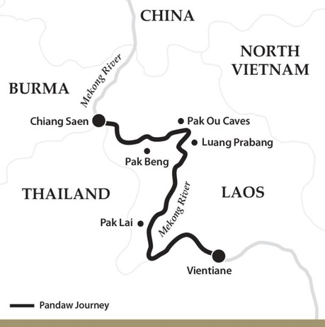 Map for The Laos Mekong - Downstream (Laos Pandaw)