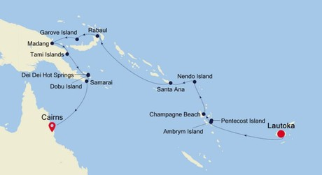 Map for Lautoka to Cairns Expedition (Silver Cloud)