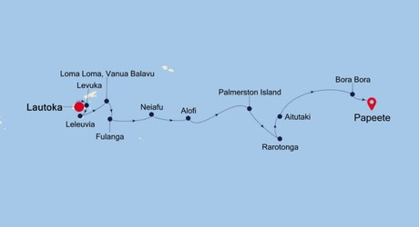 Map for Lautoka to Papeete Expedition (Silver Explorer)