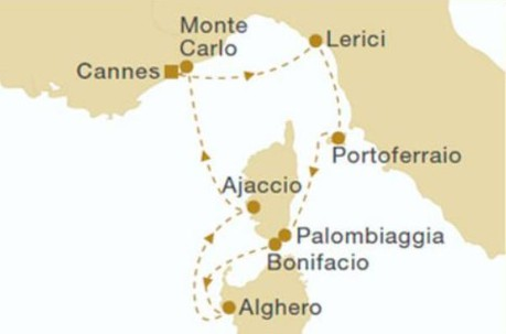 Map for Ligurian Sea (Royal Clipper)