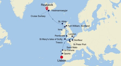 Map for Lisbon to Reykjavik Expedition (Silver Cloud)