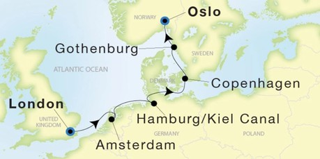Map for From London to Oslo (Sea Dream Innovation)