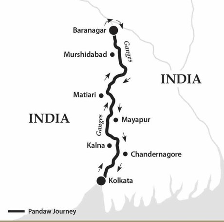 Map for The Lower Ganges River (Kalaw Pandaw)