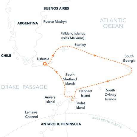 Map for Falklands, South Georgia & Antarctica (Island Sky)