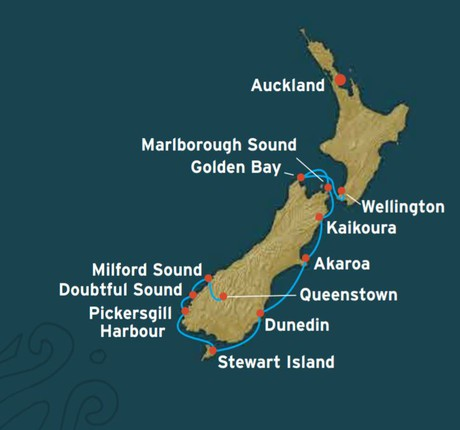 Map for New Zealand South Island Expedition