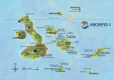 Map for Galapagos 4 Day Cruise Itinerary B (Archipel I)