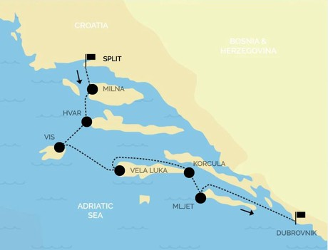 Map for Croatia Luxury Cruise: from Split to Dubrovnik