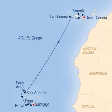 Map for Cruising Among Different Cultures: Las Palmas – Santiago