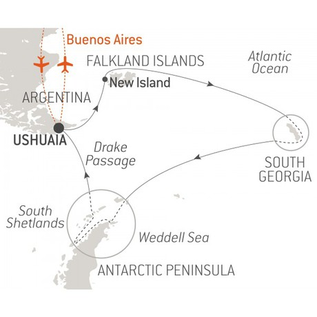Map for Falklands, South Georgia & Antarctica - with Nat Geo