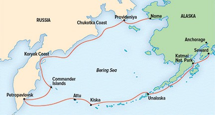 Map for Across the Bering Sea: From Katmai to Kamchatka
