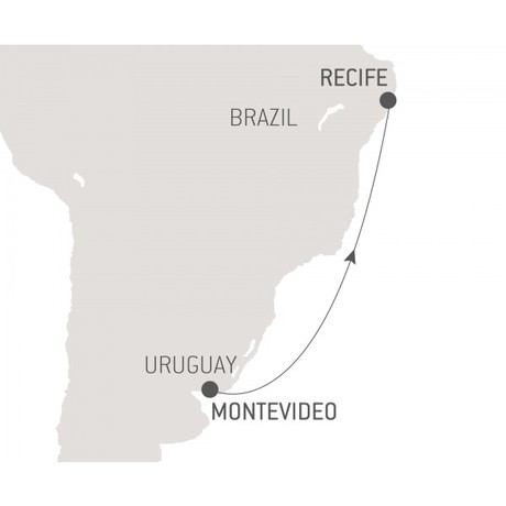 Map for Ocean Voyage: Montevideo - Recife