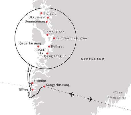 Map for Discover the Heart of Greenland