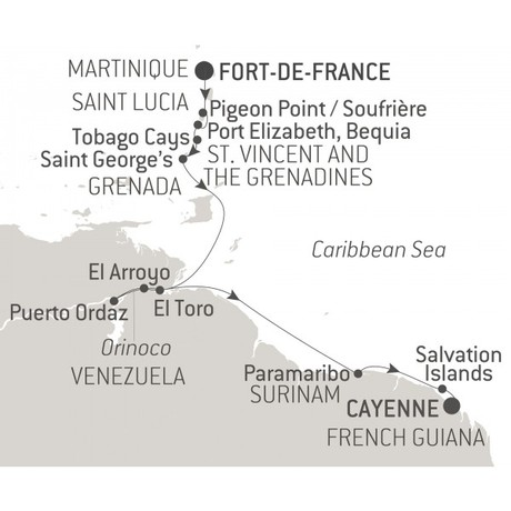 Map for Caribbean & Orinoco Cruise
