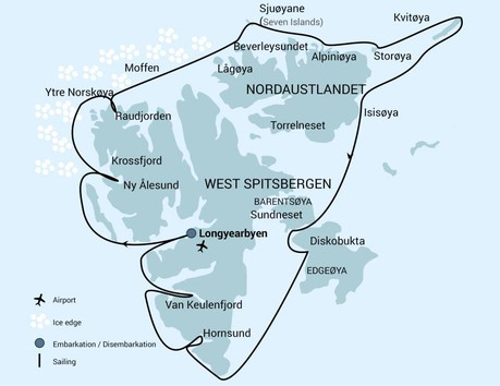 Map for Around Spitsbergen - Kvitoya (Plancius)