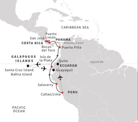 Map for Inca Mysteries and Galápagos Islands