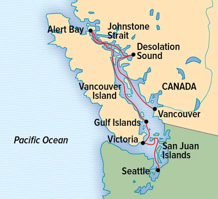 Map for British Columbia & the San Juan Islands (NG Venture)
