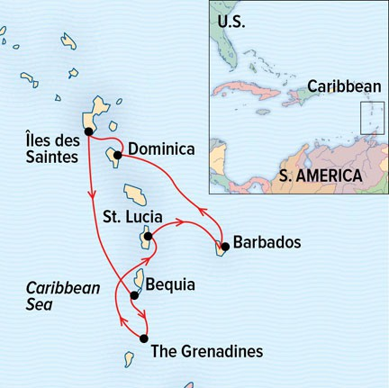 Map for Sailing the Caribbean aboard Sea Cloud