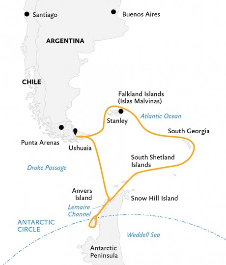 Map for Epic Antarctica: Crossing the Circle via Falklands & South Georgia
