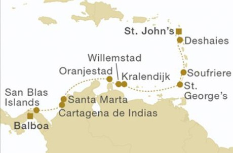 Map for Panama to Antigua (Royal Clipper)
