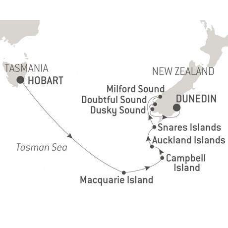 Map for The Sub Antarctic Islands Expedition