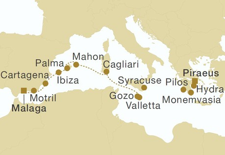 Map for Malta, Balearic Islands & Spain (Star Flyer)