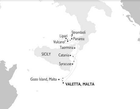 Map for Malta, Sicily and The Aeolian Islands Cruise