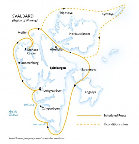 Map for Spitsbergen In Depth: Big Islands, Big Adventure