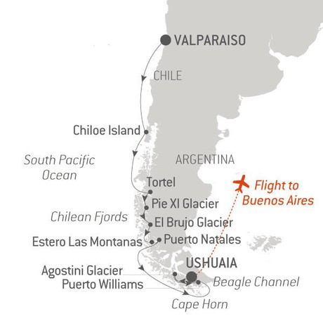 Map for Adventure in Patagonia