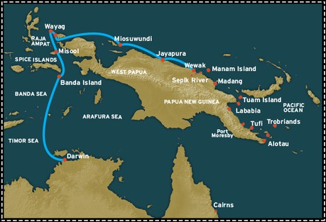 Map for Papua New Guinea: West Papua (Wewak to Darwin)