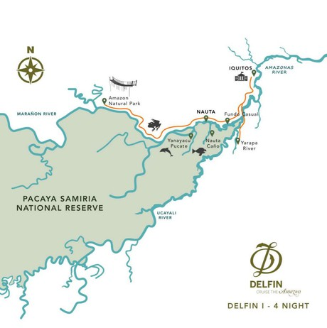 Map for Amazon River Cruise (5 days - Thursdays)