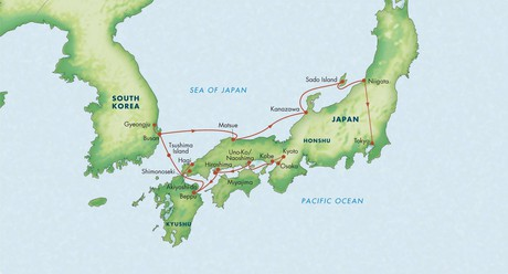 Map for Treasures of Japan with South Korea