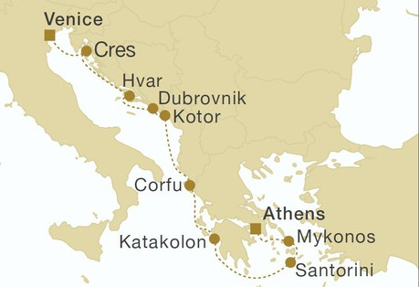 Map for Greece, Montenegro & Croatia 11 Days (Star Flyer)