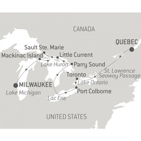 Map for Great Lakes of North America