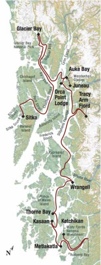 Map for Alaska's Inside Passage Sojourn