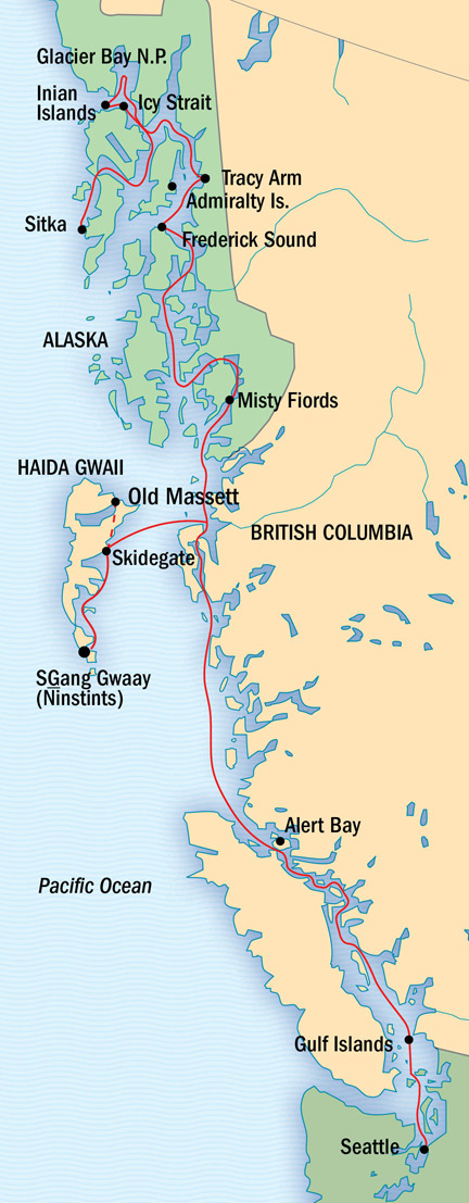 Map for Alaska, British Columbia and Haida Gwaii Cruise