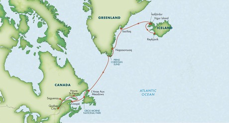 Map for Path of the Vikings: Reykjavik to Quebec