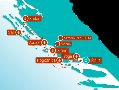 Map for Central Croatia cruise