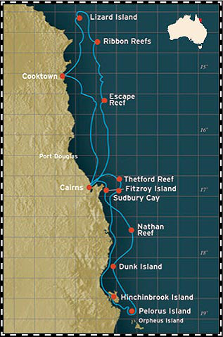 Map for Great Barrier Reef Cruise (North)